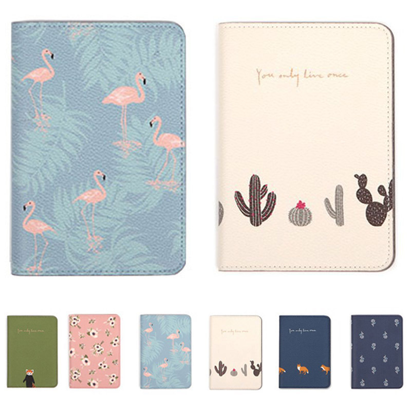 Printing Women ID Passport Holder PU Leather Card Holder Travel Passport Cover For Men Flamingo Cover On The Passport Organizer
