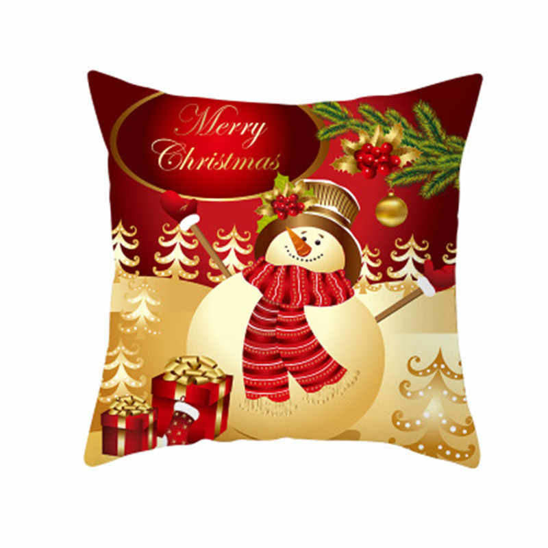 Merry Christmas Cushion Cover Throw Pillowcase for Home 2020 Xmas Ornaments Gifts Christmas Decor Happy New Year 5z