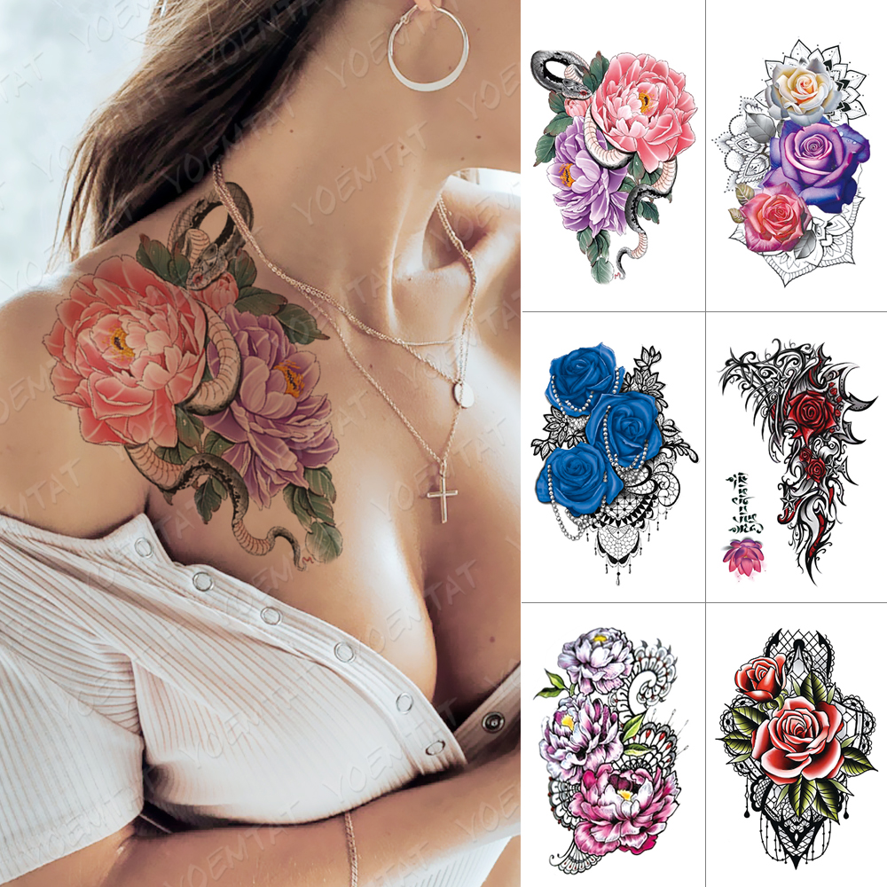 Waterproof Temporary Tattoo Sticker Snake Peony Lace Flash Tattoos Rose Flower Body Art Arm Water Transfer Fake Tatoo Women Men