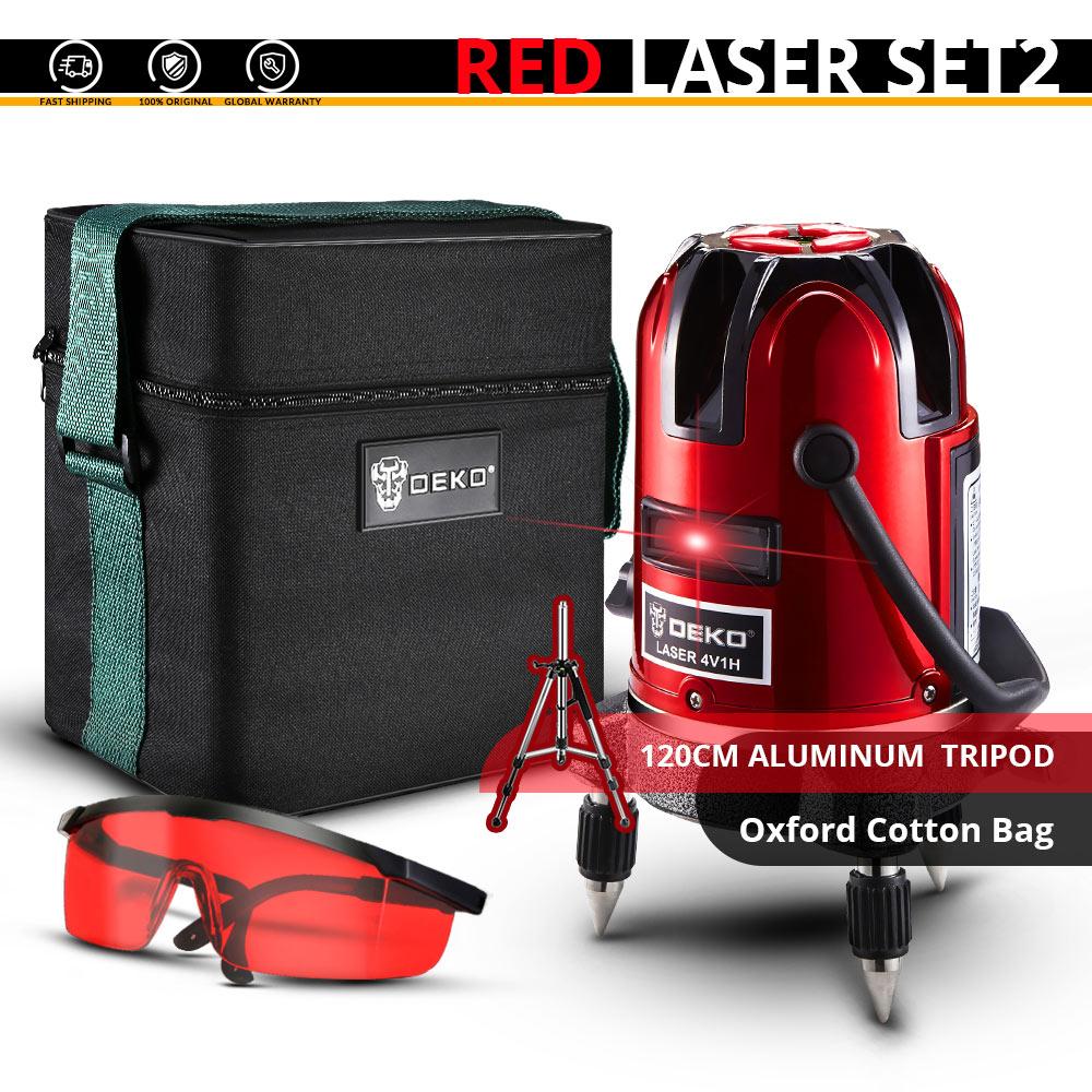 DEKO лазерный нивелир 5 линий 6 точек 360 вертикальное и горизонтальное поворотный Крест лазерной линии выравнивания w/Oxfrod чехол может использовать приемник - Цвет: LL57-SET2