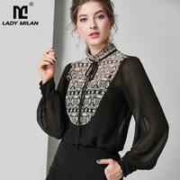 Women's Silk Blends Shirt Stand Collar Lace Up Embroidery Elegant Fashion Blouse Top