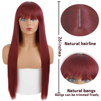 Long Straight Wine Red Wig With Bangs Synthetic Hair Wigs Bang With Wig For Women Wine Red Heat Resistant Wigs 2
