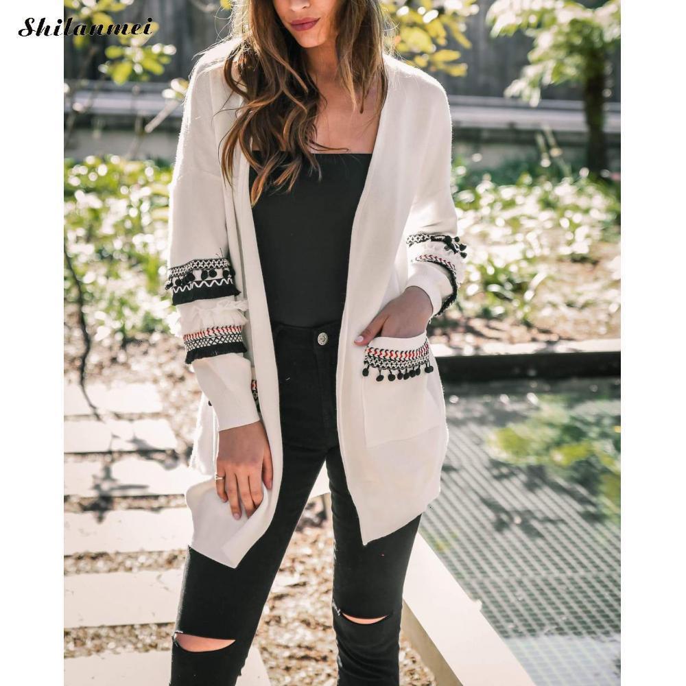 Long Sleeve Cardigan Sweater Pockets Spliced Autumn Women Jackets Plus Size Sweater Solid Loose Casual Knit Sweater Women Tops