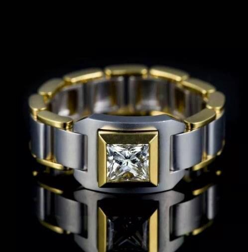 Bague de mariage en Zircon pour hommes, bague de fiançailles en chaîne, magnifique, couleur or, à la mode