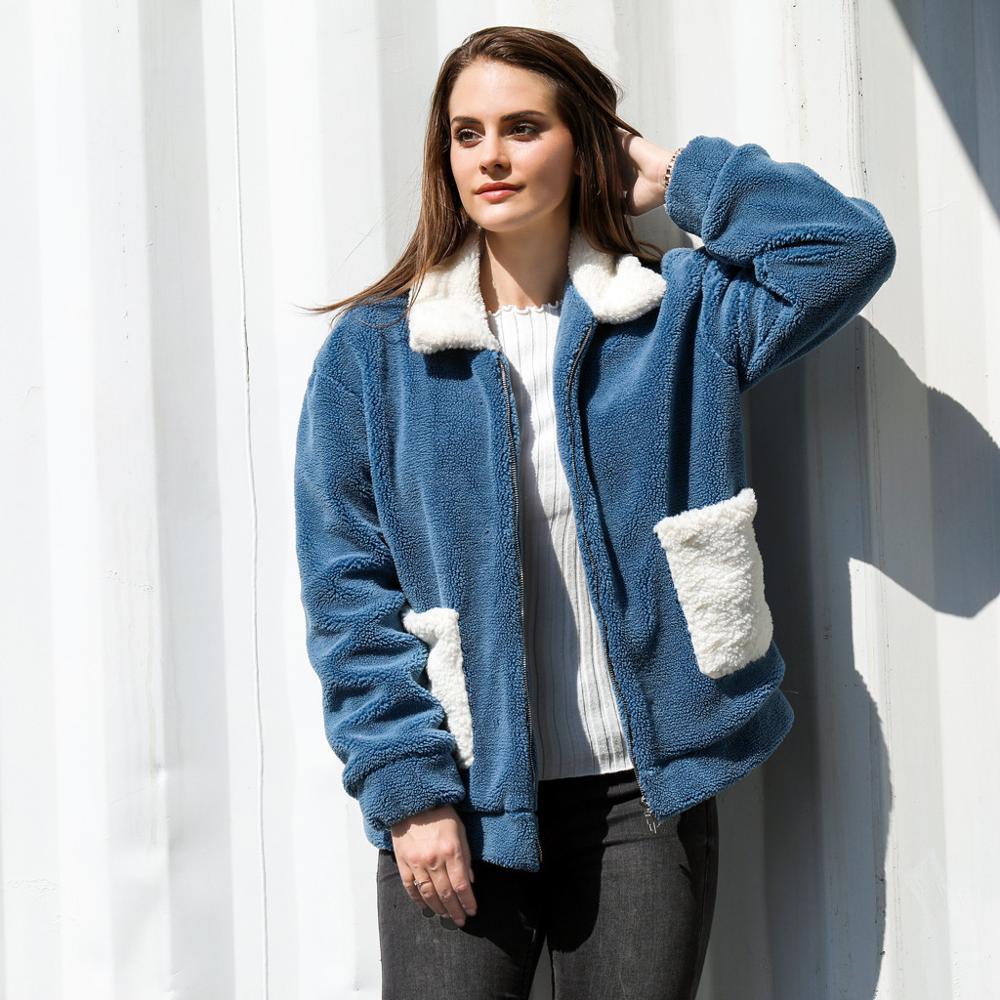 Women Casual Solid Pocket Faux Fur Outwear Cardigan Loose Zipper Coat female long sleeves winter clothes 3XL tops manteau femme