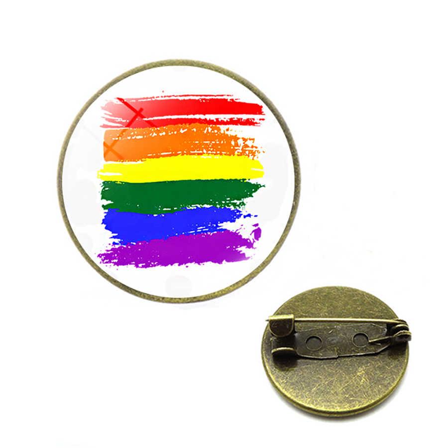 Rainbow LGBT เข็มกลัดเกย์เลสเบี้ยน LGBT Pins Rainbow FLAG Bi Pride เข็มกลัดแก้ว Cabochon เครื่องประดับ Dropshipping ของขวัญผู้หญิง