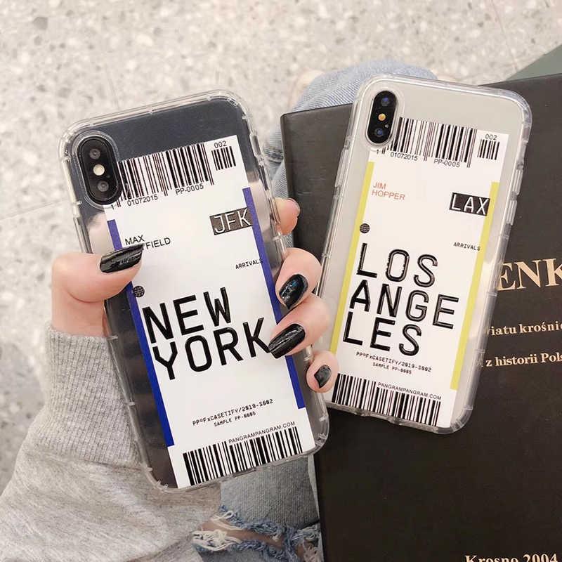 Amerika hava bilet abd şehir londra Paris Tokyo etiket şeffaf iphone için kılıf 7 8 artı 11 Pro XR X Max Houston chicago QR kod kapak
