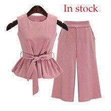 2019 Plus Size 5XL Summer European Style Sleeveless Tops Three Quarter Pants Wom