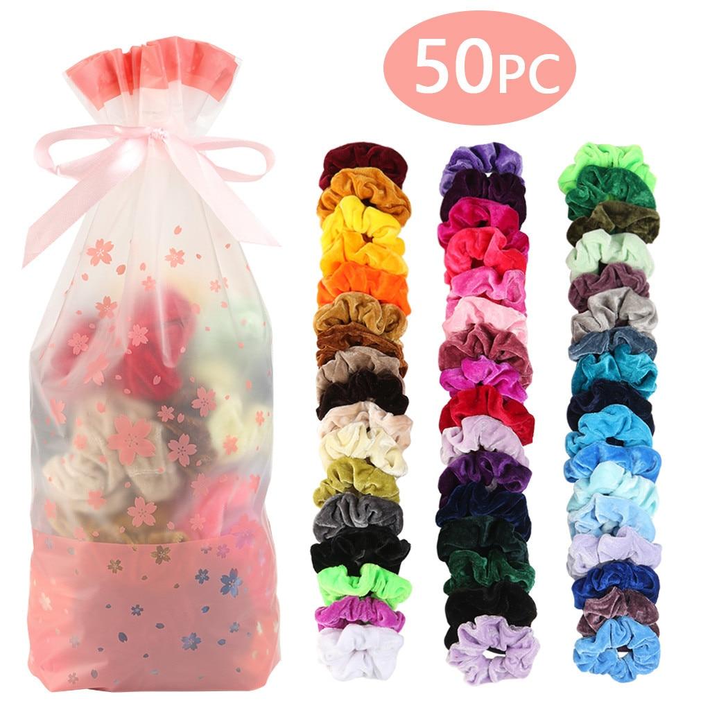 50 Pcs Velvet Elastic Hair Bands Mermaid Elastic Hair Bands Scrunchy Hair Ties Ropes Scrunchie For Women Or Girls Hair #YL10