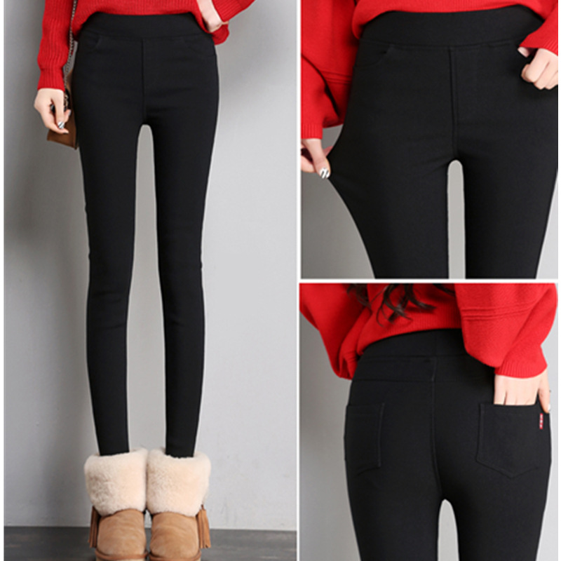 2019 Winter Warm Legging High Elastic Waist Plus Velvet Casual Stretch Skinny Pencil Pants Women Trousers Plus Size Leggings