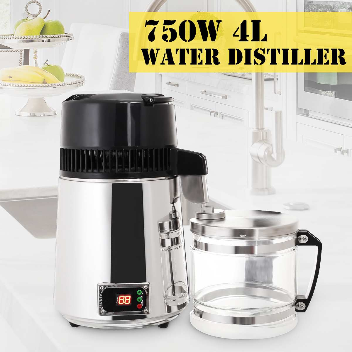 4L 750W Water Distiller Household Distilled Pure Water Machine Distillation Purifier Filter Stainless Steel Water Filter AU Plug image
