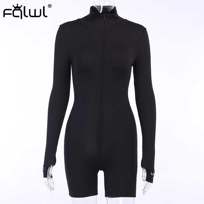 FQLWL Streetwear 니트 섹시한 여름 Romper Bodycon 블랙 화이트 Jumpsuit 여성 Playsuit 긴 소매 숙녀 짧은 Jumpsuit 여성