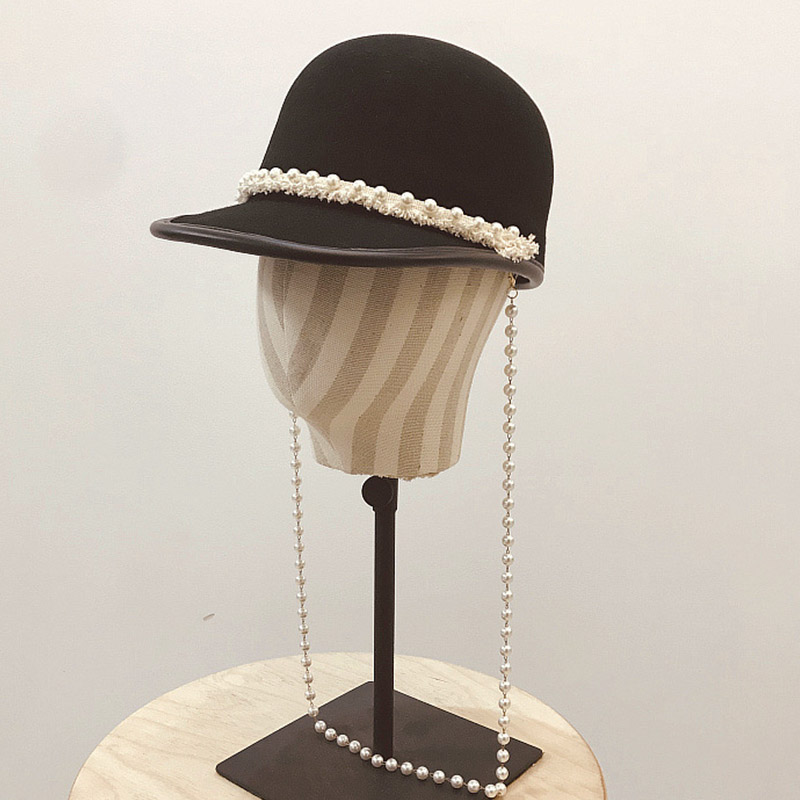 New Fashion Long Pearls Necklace Wool Cap Women Young Girl Outdoor Baseball Cap Winter Spring Newsboy Cap Visor Cabbie Derby Hat
