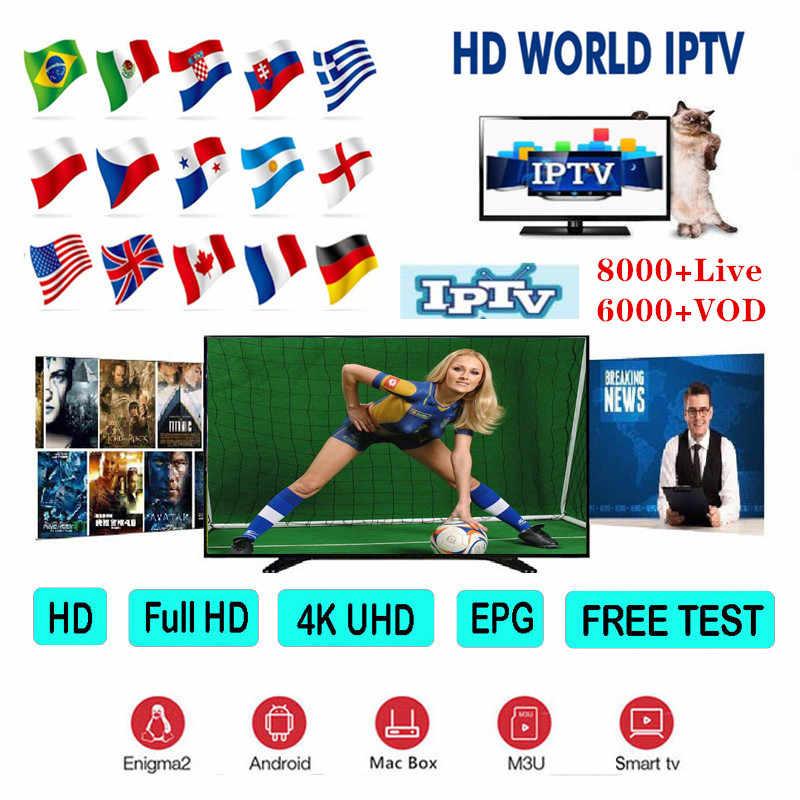 1 Tahun 8000 + Live-Europe IPTV Bahasa Perancis Bahasa Belanda Spanyol Amerika Serikat Portugal IPTV Berlangganan Bahasa Arab IPTV Tes Gratis Android TV box Smart TV PC