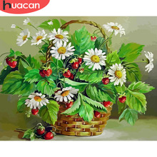 Canvas Painting Pictures Wall-Art Flowers-In-The-Basket By Numbers Living-Room Home-Decoration