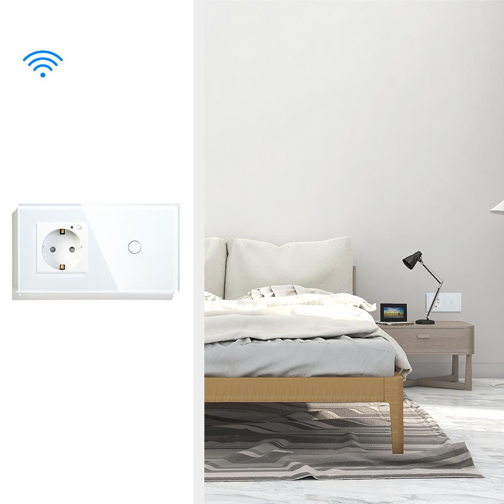 BSEED Wifi 1 Gang 2Gang 3Gang Smart Touch Switch EU Standard Socket With Black White Gold Crystal Glass Panel Switches Tuya in Switches from Lights Lighting