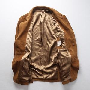 Image 2 - 2019 ใหม่ผู้ชาย Blazers Suede cowhide เสื้อแฟชั่น Cowskin Blazer แจ็คเก็ตจัดส่งฟรี