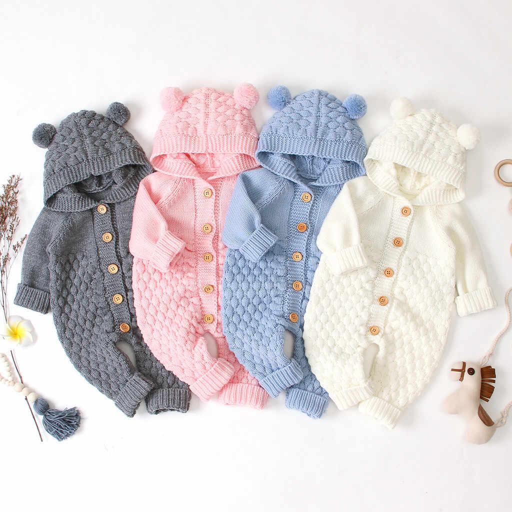 Neugeborene jungen strampler Kleinkind Overall Mädchen Winter Warme Mantel Stricken Outwear Mit Kapuze Overall Insgesamt Kinder Outfit