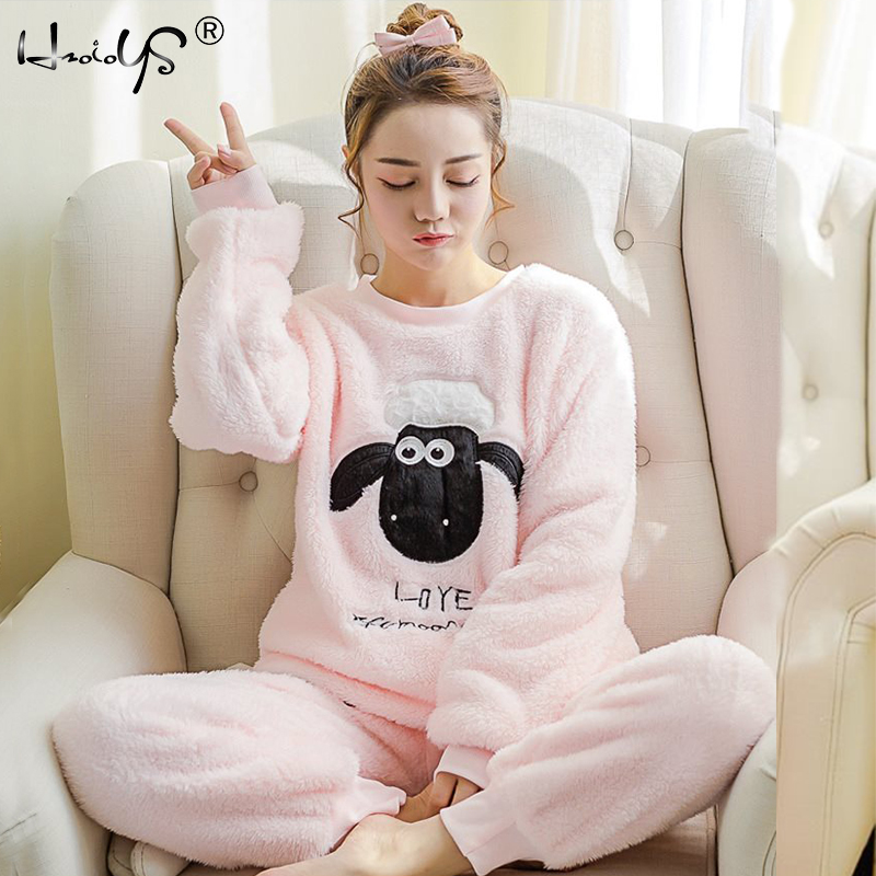 Women   Pajama     Sets   2019 Autumn winter Flannel Cartoon Warm Pyjamas Women Homewear Animal Sleepwear Cat female   pajama