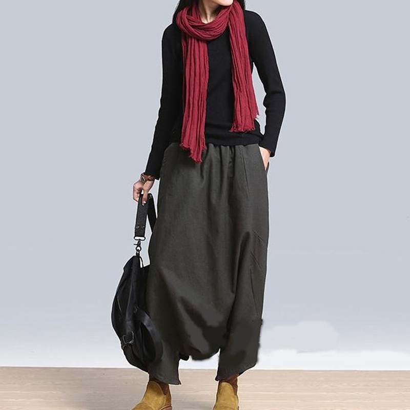 2019 Autumn Women Casual Linen Harem Pants Baggy Bottoms Fashion Solid Low Crotch Female Plus Size Pants
