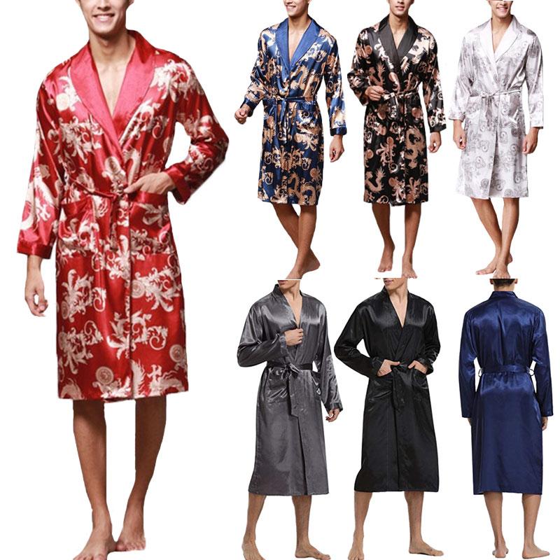 Ethnic Mens Robe Long Sleeves Bathrobe Silk Kimono Chinese Lucky Dragon Print Pajamas Bathrobe Night Dressing Gown Masculina