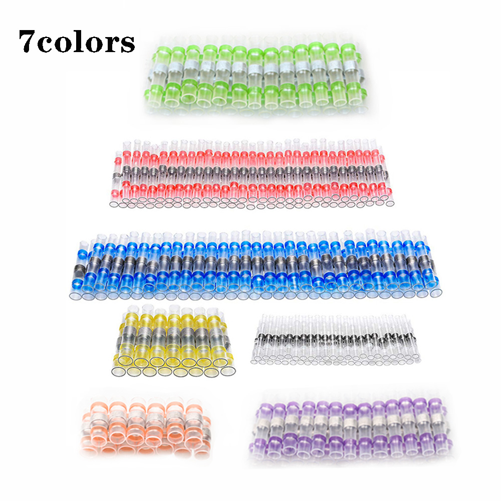 100Pcs Solder Seal Wire Connectors - Heat Shrink Solder Butt Connectors - Solder Connector Kit - Automotive Marine Insulated