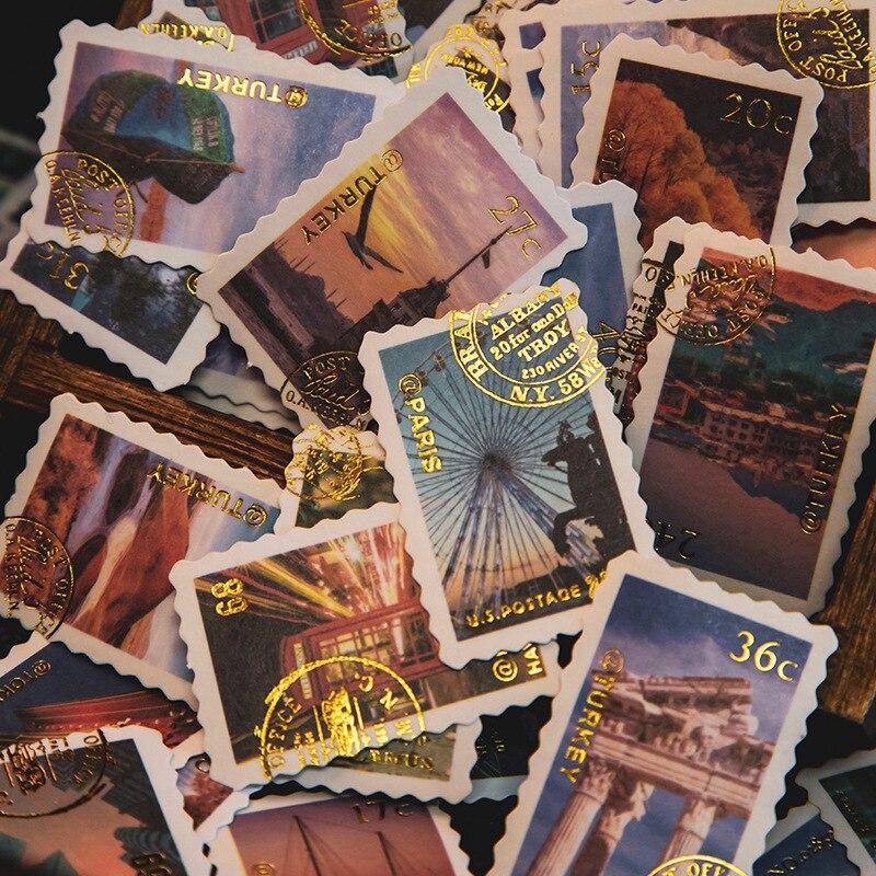 60 шт показать вам мир Винтаж наклейки из бумаги васи набор штамп из золотой фольги с клейким этикетком декоративные наклейки этикетки для д...