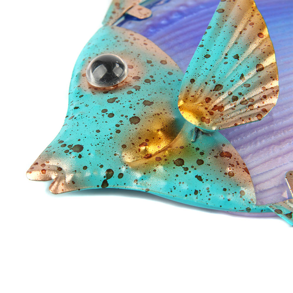 Home Decor Metal Fish Artwork for Garden Decoration Outdoor Animales Jardin with Colour Glass for Garden Statues and Sculptures 5