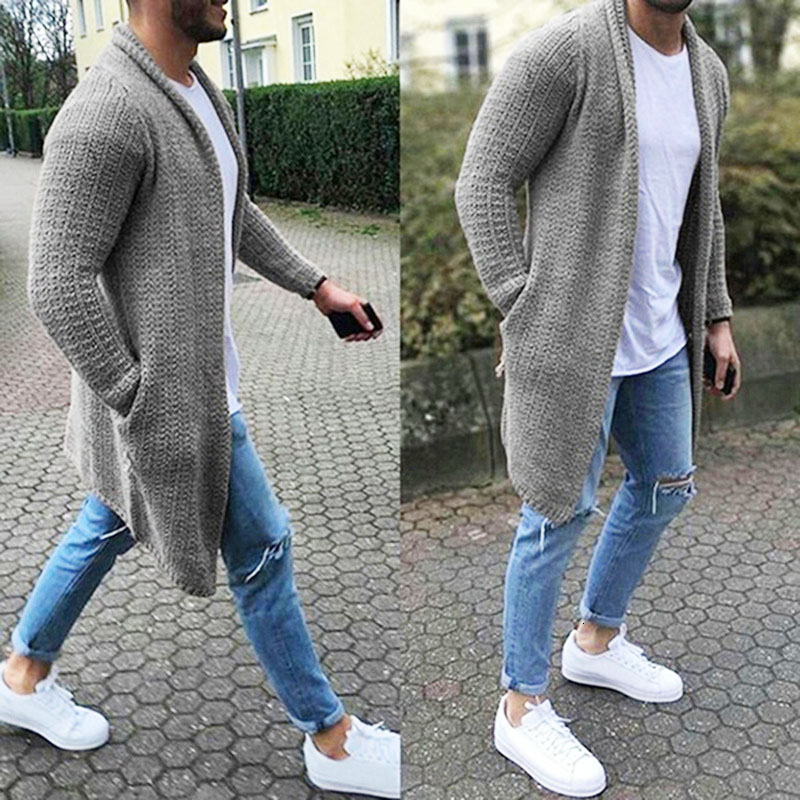 Moomphya Knitted Cardigan Long Sleeve Men Sweater Coat 2019 Streetwear Windbreaker Coat Men Hip Hop Male Elastic Sweater Men