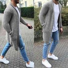 Moomphya Knitted Cardigan Long Sleeve Men Sweater Coat 2019