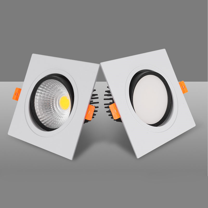 Square Dimmable Ceiling Recessed White LED Downlights Ceiling Lamp 7w 9w 12w 15w18w AC110-220V LED Spot Lights Indoor Lighting
