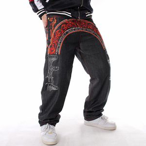 Image 3 - Sokotoo Mens hip hop jeans Cool personality embroidery loose pants Denim streetwear long trousers male