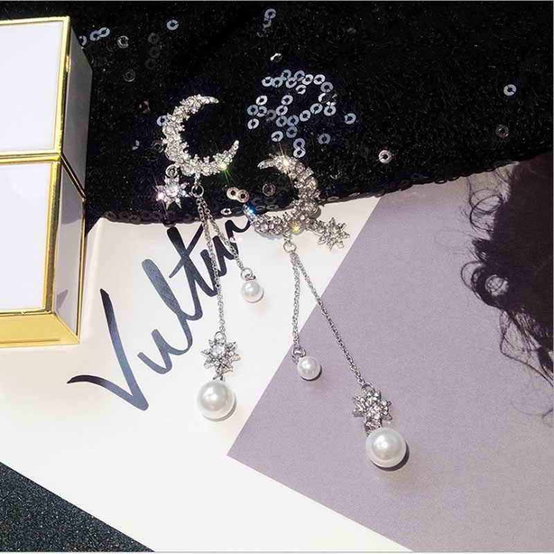 Elegant เทียม Pearl Moon Star ยาวพู่หูเล็บประณีตป้องกันโรคภูมิแพ้ EarringFashion บุคลิกภาพจี้คุณภาพสูง
