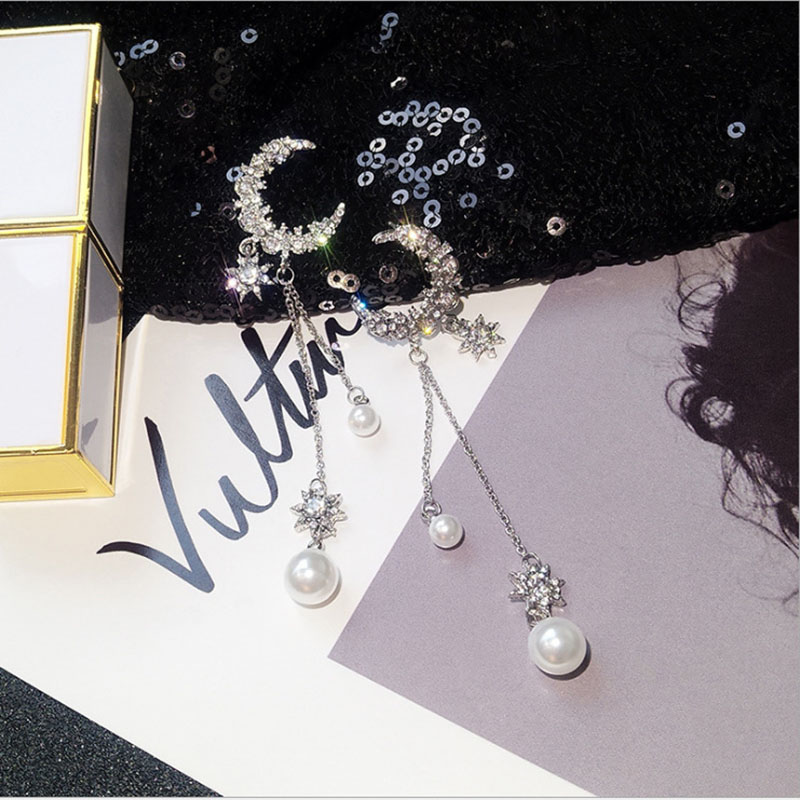 elegant imitation pearl Moon Star Long Tassel ear nail exquisite Prevent Allergy EarringFashion Personality Pendant High Quality