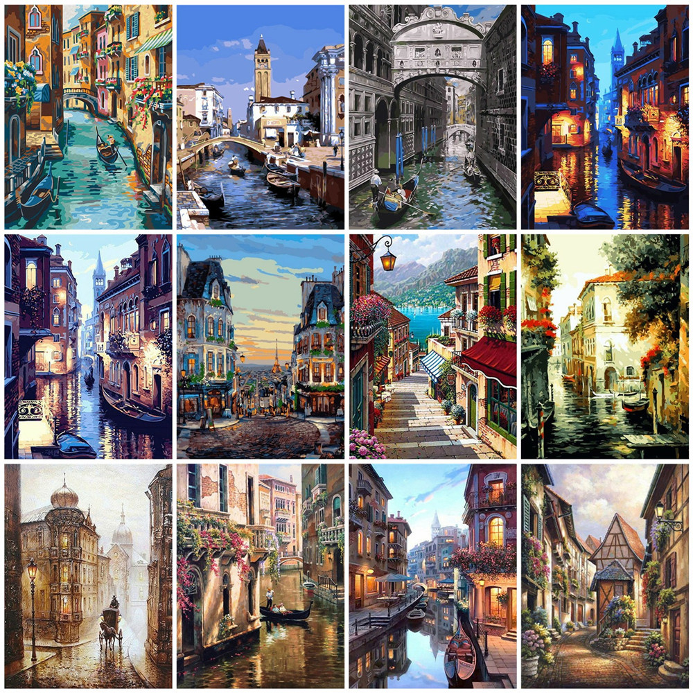 HUACAN Home-Decor Venice-City-Pictures Drawing Canvas Landscape By Numbers Gift-Kits title=