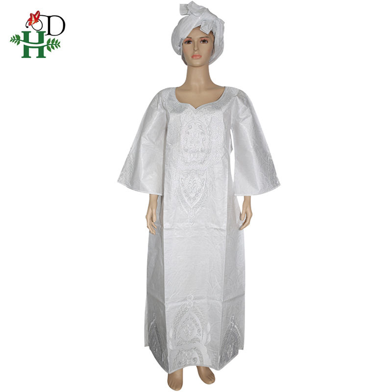 H&D African White Dresses For Women Bazin Riche Dress With Stones Robe Africaine Femme 2019 Dashiki Dresses Ladies Head Wraps