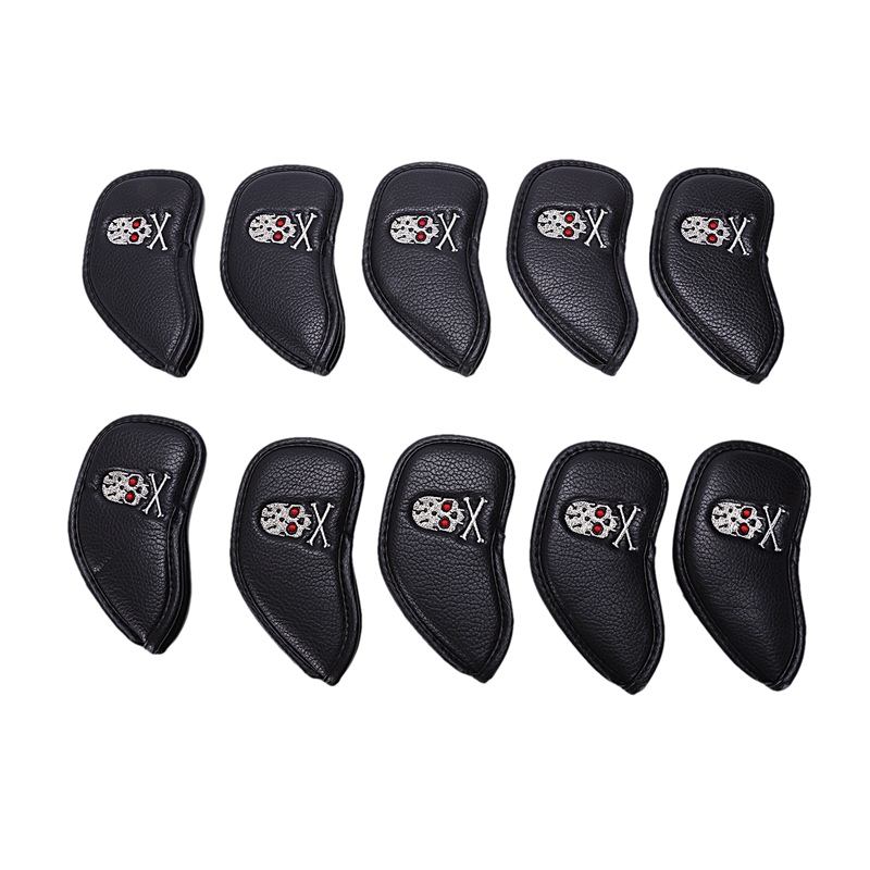 10 Pcs Thick Pu Black Golf Skull Iron Headcover Sets Club Head Cover