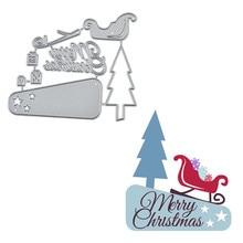 YaMinSanNiO Merry Christmas Metal Cutting Dies Hillside Pine Scrapbooking Album Die Cut Embossing Stencil Home Decorations