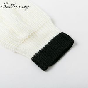 Image 5 - Sollinarry O ネックシックなニットセーター女性 2019 カジュアルストライプニット冬のセータージャンパーレディースパッチワークプルオーバーシックな