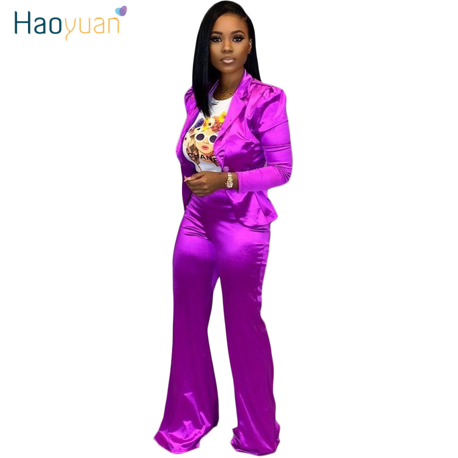 HAOYUAN Two Piece Set Women Fall Business Outfits Festival Clothing Long Sleeve Blazer Top And Pant Suit 2 Piece Matching Sets