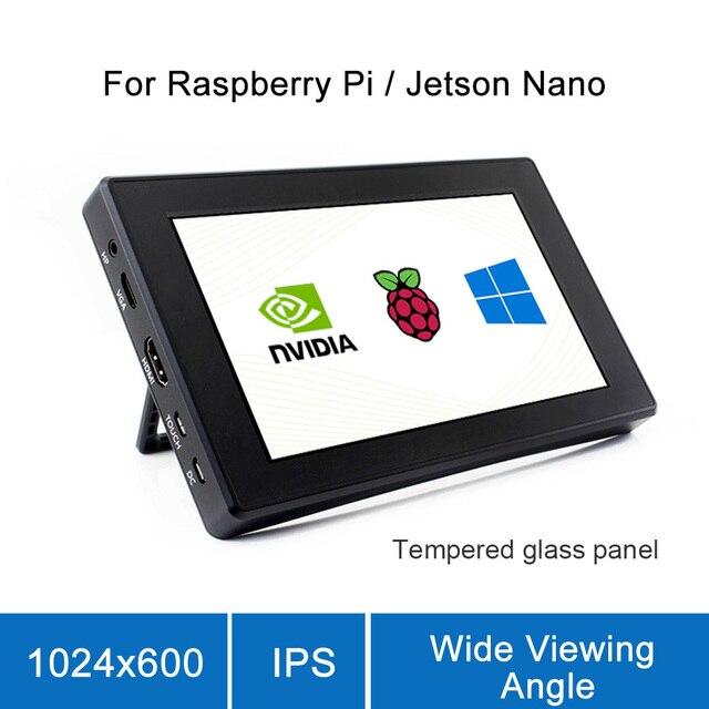 Raspberry Pi 4, modelo B/ 3B +/ 3B, pantalla de 7 pulgadas con caja de pantalla LCD, 7 pantallas de Monitor, pantalla táctil capacitiva IPS de 1024x600
