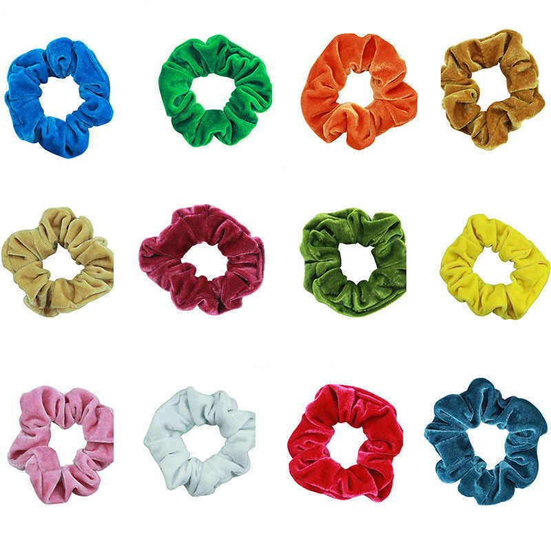 33 Color Soft Chiffon Velvet Satin Hair Scrunchie Floral Grip Loop Holder Stretchy Hair Band Leopard Women Hair Accessories