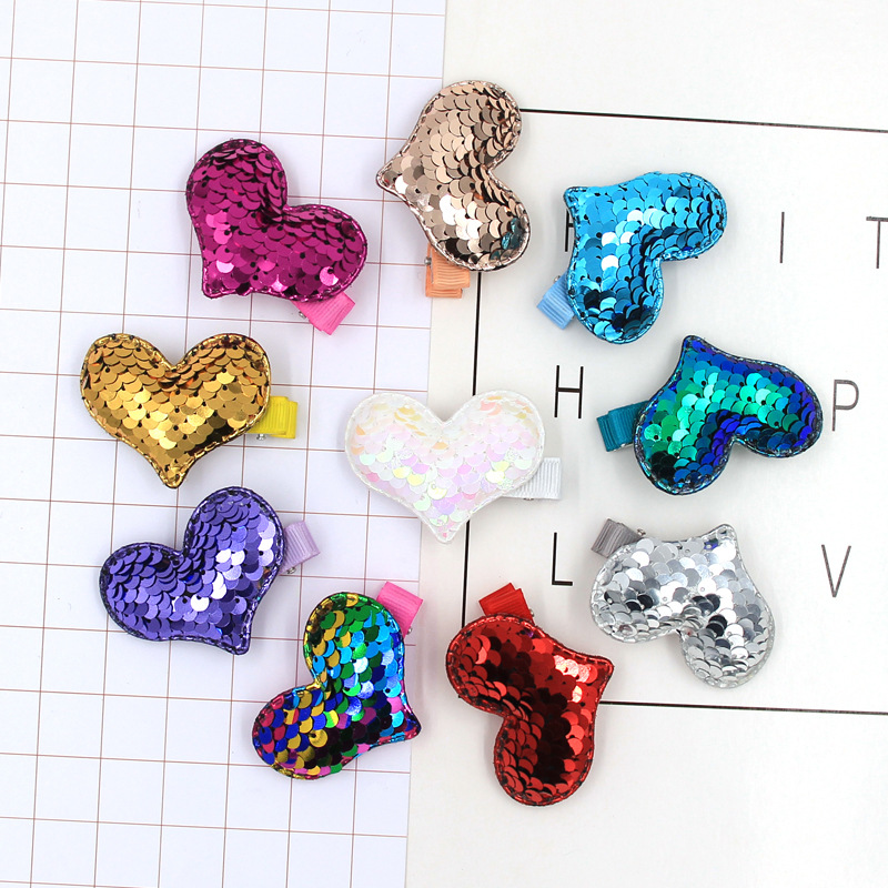 2PC Lovely Cartoon Love Children's Series Sequin Hair Grips Sweet Girls Hair Pins Hair Accessories HeadWear