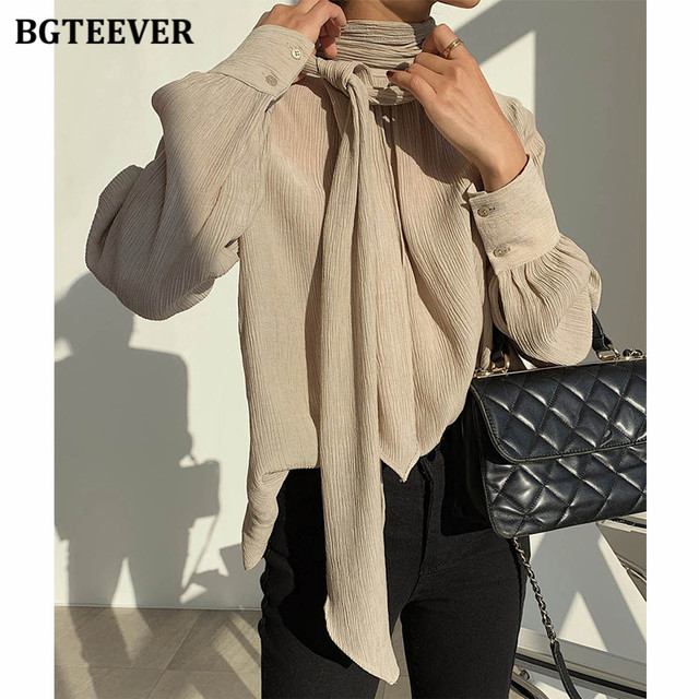 Winter O-neck Solid Blouse  2