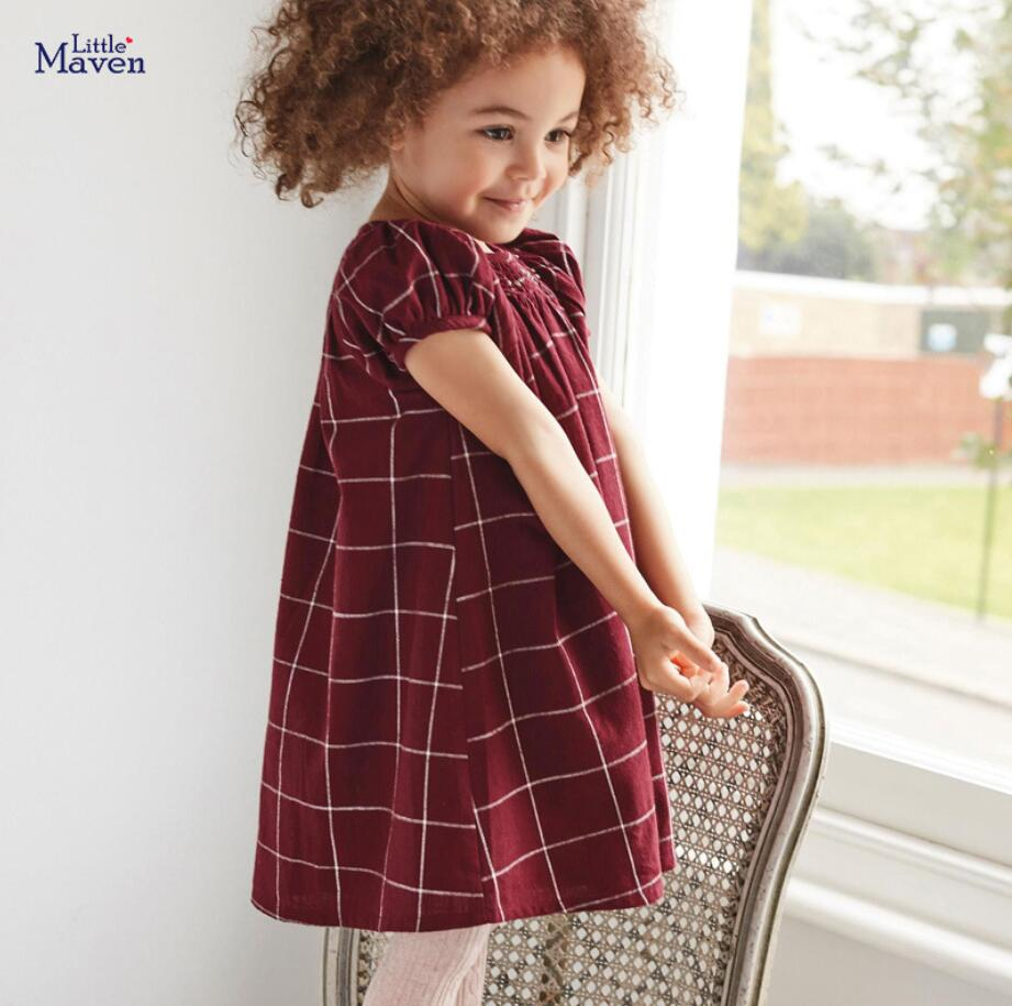 Little Maven 2020 New Summer Baby Girls Clothes Brand Dress Kids Cotton Wine Red Plaid Short Sleeve Dresses S0723