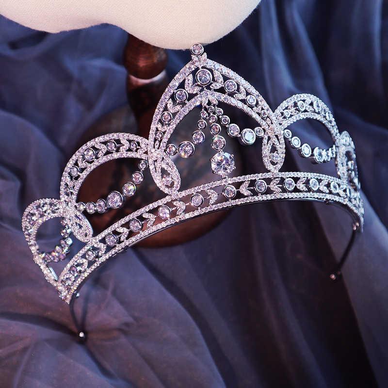 Luxe Vintage couronne mariage diadème mariée casque robe de mariée accessoires princesse couronnes Zircon bijoux