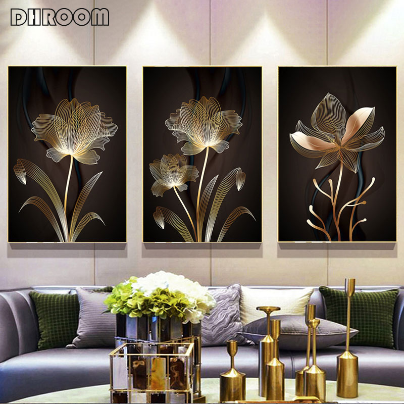 Modern Minimalist Abstract Line Flower Painting On Canvas Cuadros Posters And Prints Scandinavian Wall Picture For Living Room