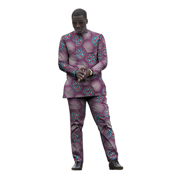 African clothing men's print set shirt with trouser Ankara fashion pant sets customized wedding wear male formal outfits