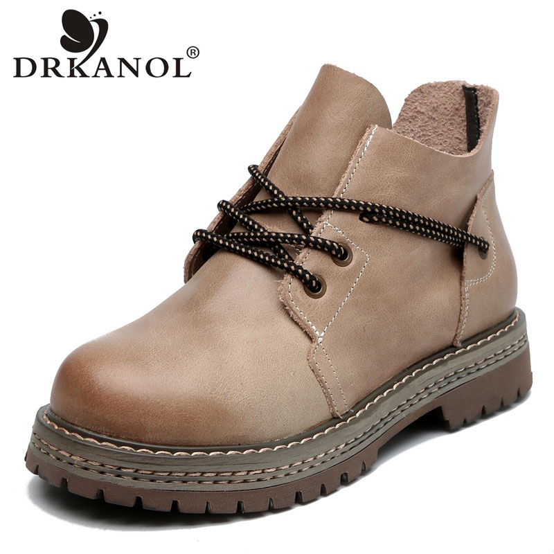 DRKANOL New Spring Handmade Women Boots Quality Vintage Genuine Leather Ankle Boots For Women British Style Casual Flats Shoes
