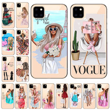 Fashion Black Brown Hair Baby Mom Girl Queen Phone Case For iPhone 11 Pro Max Soft TPU Silicone Back Protective Shell Coque Capa panda pattern detachable protective wood back case for iphone 5c brown black